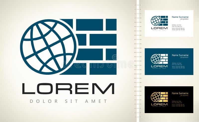 Pianeta e mattoni Società di costruzioni di logo illustrazione vettoriale