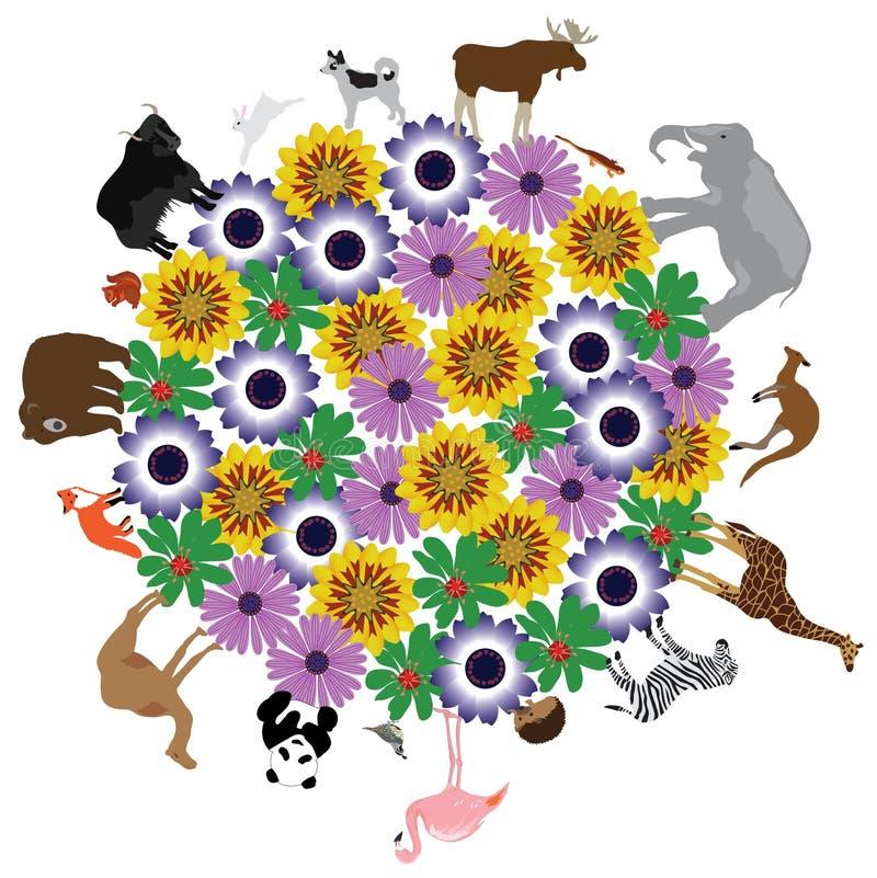 Pianeta floreale di vettore con gli animali intorno  illustrazione vettoriale