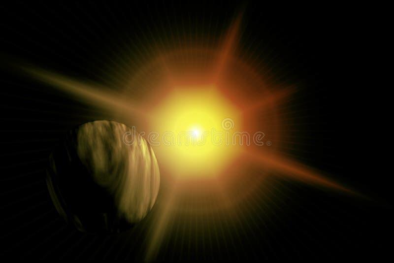 Pianeta galattico di colore giallo del chiarore illustrazione di stock
