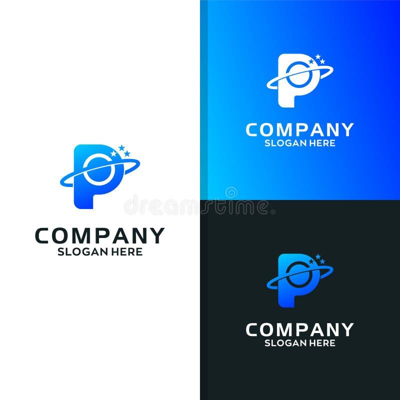 Pianeta Logo Design Template della lettera commerciale P illustrazione di stock