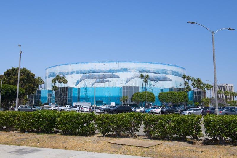 Pianeta Oceano Murale sulla Long Beach Arena in centro in California fotografia stock libera da diritti