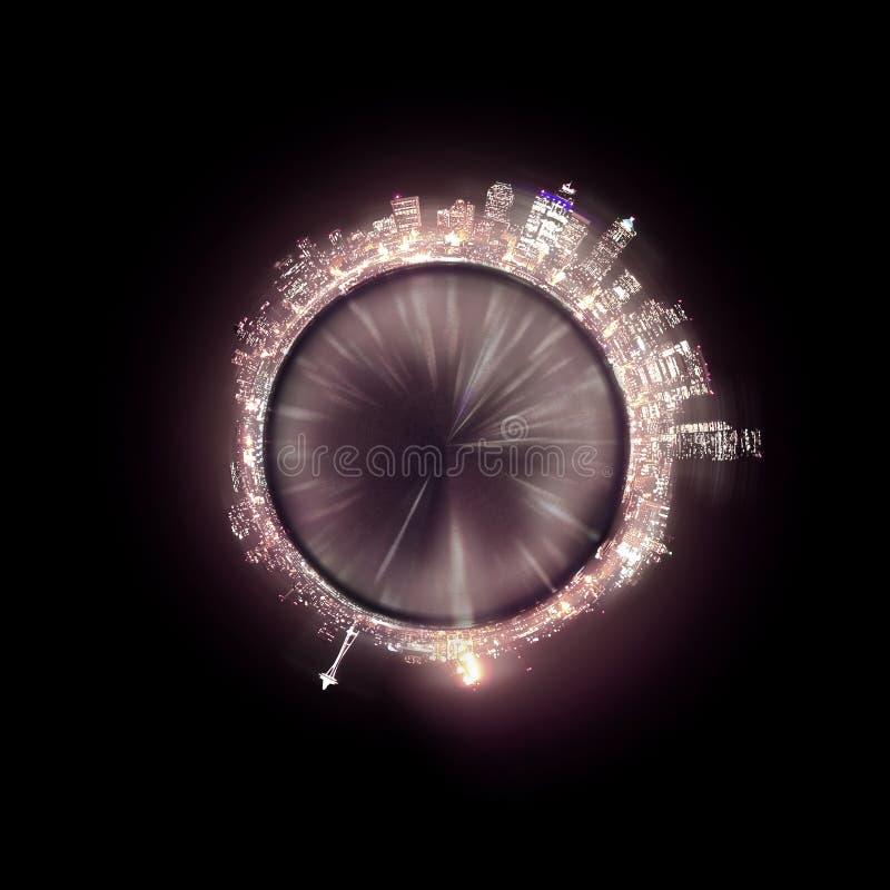 Pianeta panoramico di notte dell'orizzonte di Seattle fotografia stock libera da diritti