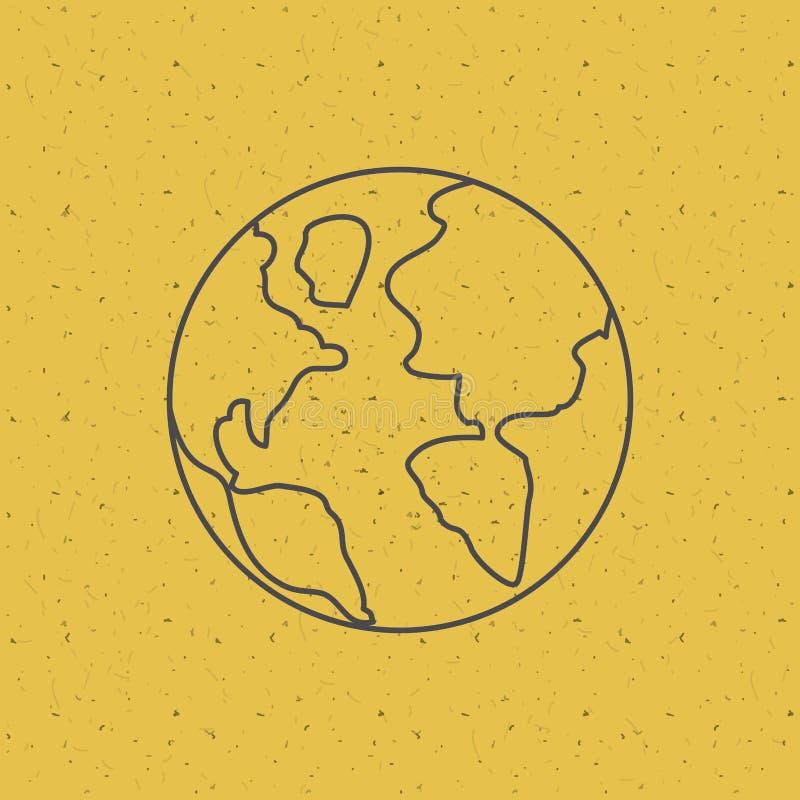Pianeta sopra il fondo di struttura e di giallo illustrazione vettoriale