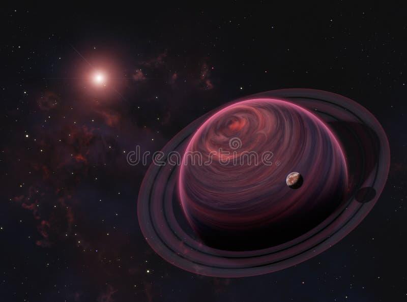 Pianeta straniero del gigante di gas con gli anelli e la luna rossa sul fondo della nebulosa Elementi di questa immagine ammobili fotografia stock libera da diritti