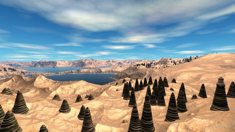 Pianeta straniero Montagna ed acqua rappresentazione 3d illustrazione vettoriale