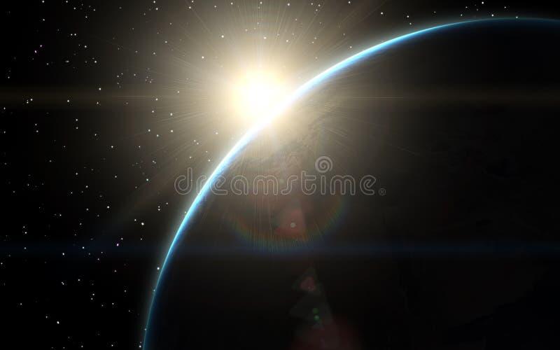 Pianeta Terra al tramonto con una vista da spazio illustrazione di stock