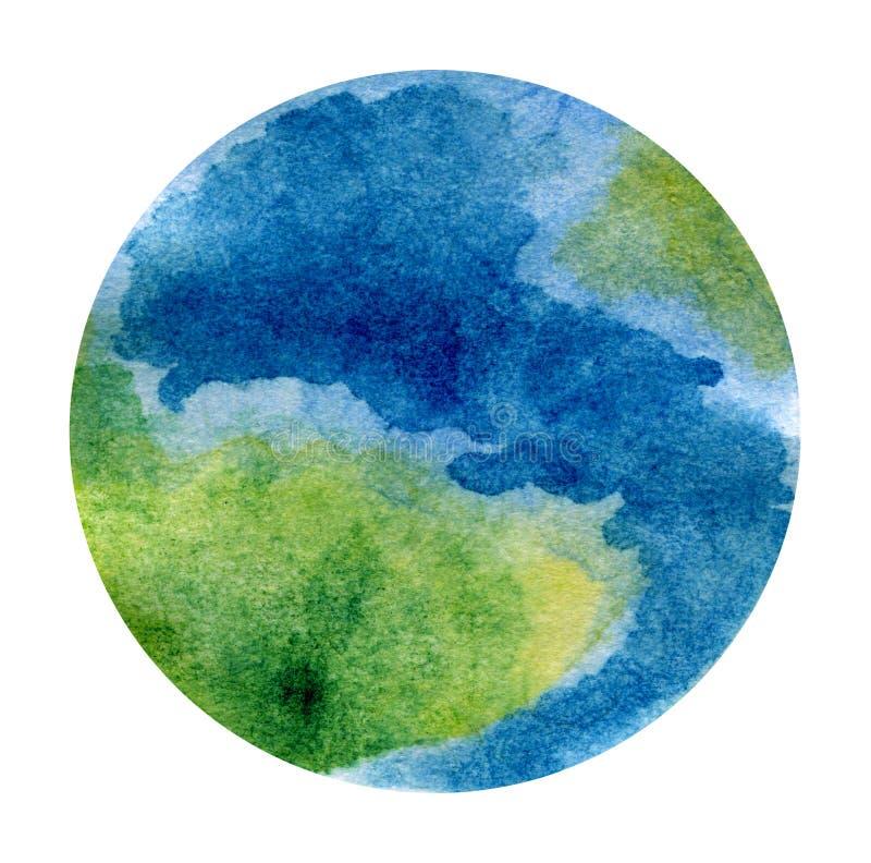 Pianeta Terra - bella illustrazione dipinta a mano dell'acquerello illustrazione vettoriale