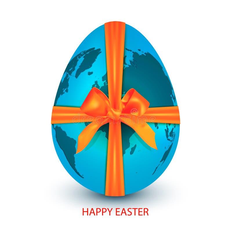 Pianeta Terra blu nella forma dell'uovo di Pasqua legata con il nastro arancio con un arco isolato su un fondo bianco con un salu illustrazione di stock