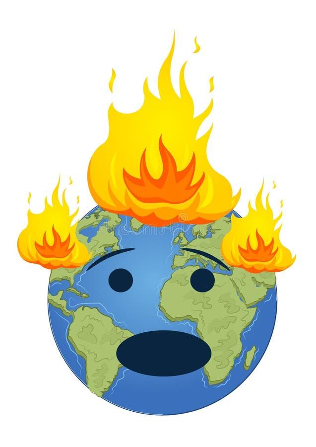Pianeta Terra bruciante Concetto di riscaldamento globale royalty illustrazione gratis