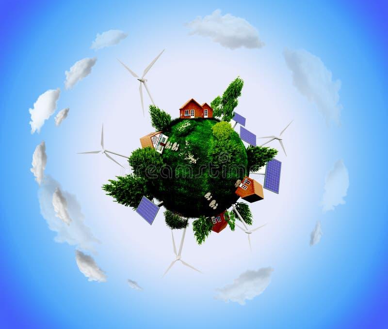 Pianeta Terra con i generatori eolici ed i pannelli solari fotografie stock