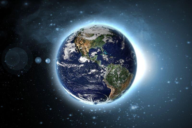 Pianeta Terra con il circuito di incandescenza nello spazio esterno della galassia Gli elementi di questa immagine hanno fornito  illustrazione vettoriale