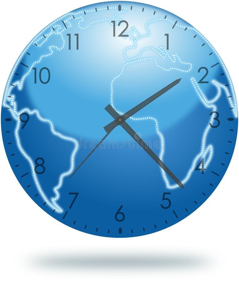 Pianeta Terra con il fronte di orologio isolato su bianco illustrazione vettoriale