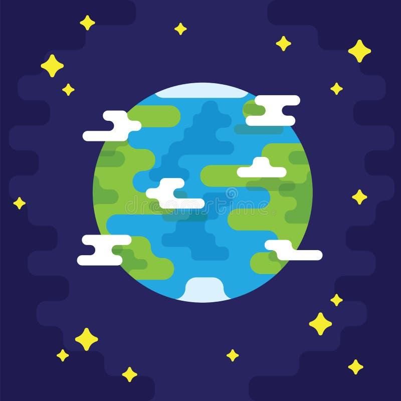 Pianeta Terra con il punto di vista dei continenti e dei paesi dall'illustrazione di vettore di spazio dell'universo Pianeta Terr royalty illustrazione gratis