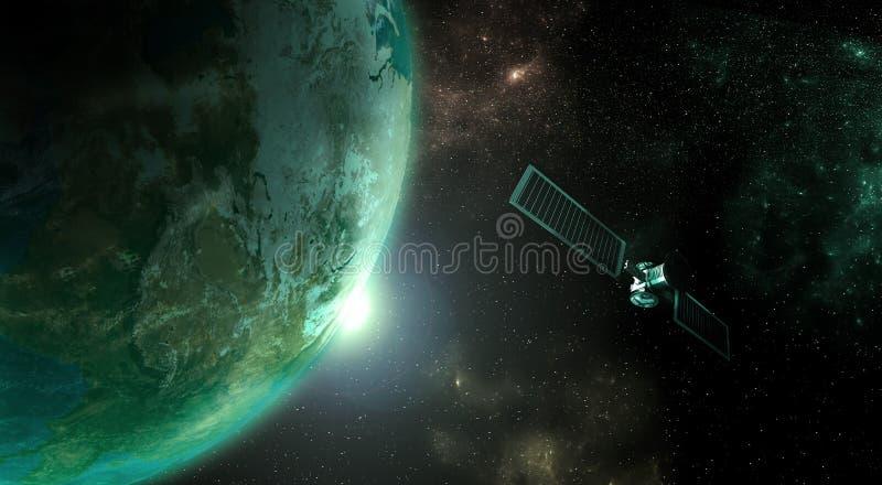 Pianeta Terra con il satellite fotografie stock libere da diritti