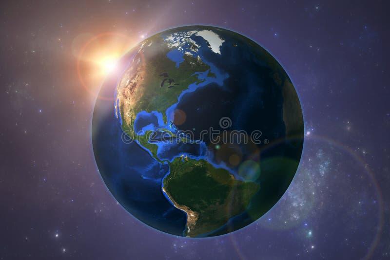 Pianeta Terra con il tramonto royalty illustrazione gratis