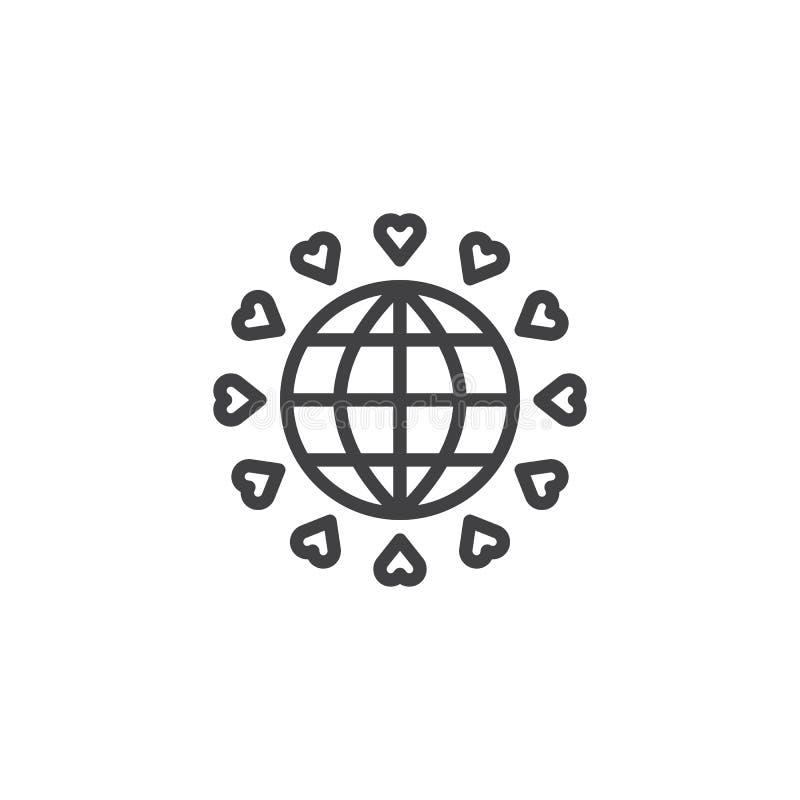 Pianeta Terra con la linea di cuori icona illustrazione vettoriale