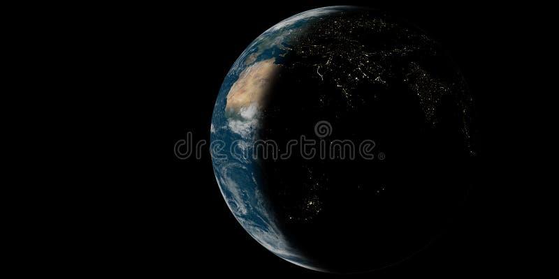 Pianeta Terra con le luci immagine stock libera da diritti