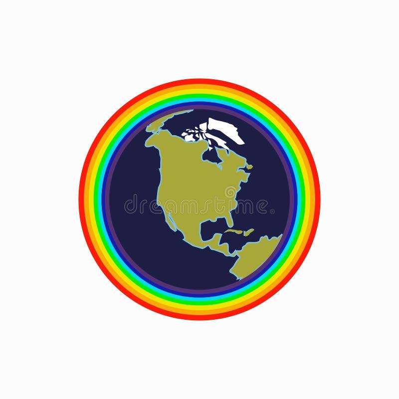 Pianeta Terra con lo spettro intorno illustrazione di stock