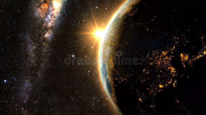 Pianeta Terra con un tramonto spettacolare illustrazione vettoriale