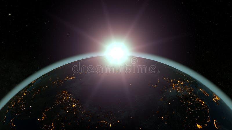 Pianeta Terra contro il sol levante, atmosfera blu illustrazione 3D illustrazione vettoriale