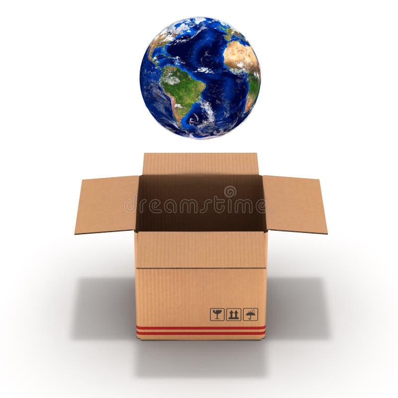 Pianeta Terra d'imballaggio in un'illustrazione della scatola di cartone 3d illustrazione di stock