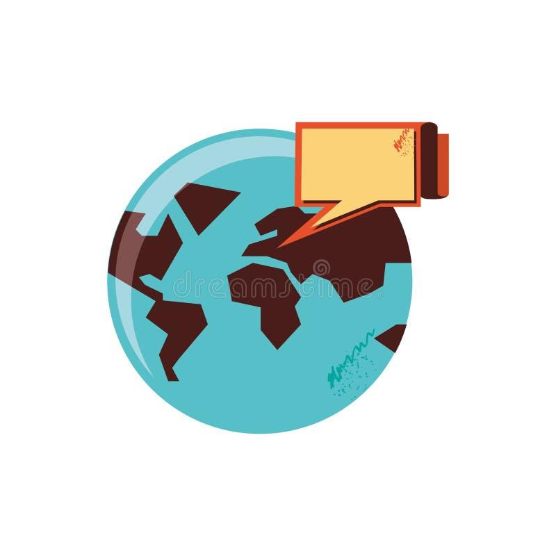 Pianeta Terra del mondo con il fumetto illustrazione di stock