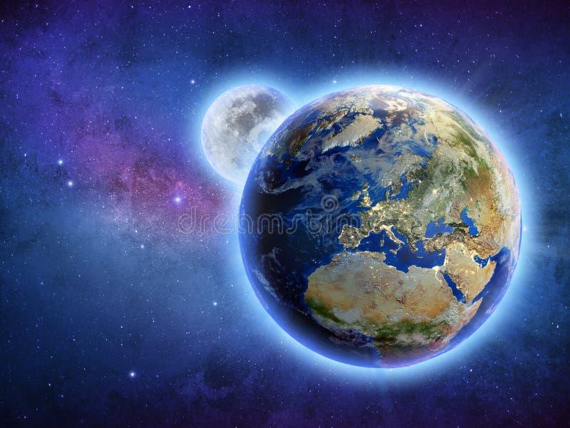 Pianeta Terra dell'universo della galassia e rappresentazione della luna 3d royalty illustrazione gratis