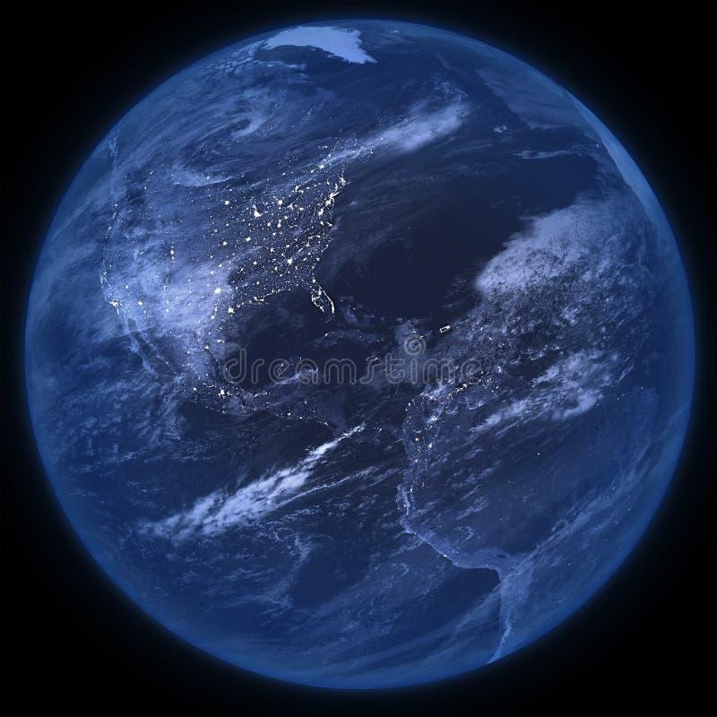 Pianeta Terra di notte isolato - png royalty illustrazione gratis