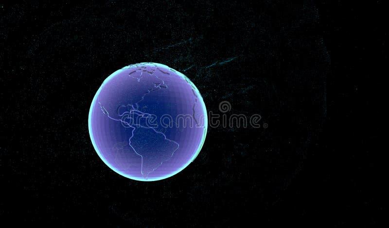 Pianeta Terra di tecnologia Pianeta Terra di tecnologia su fondo nero rappresentazione 3d illustrazione 3D illustrazione di stock