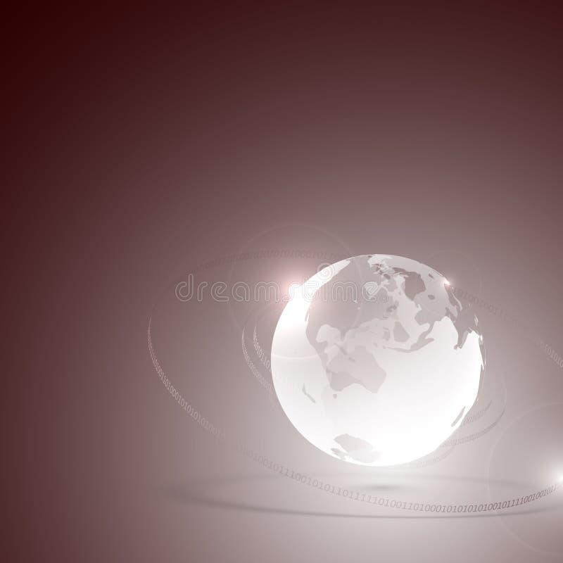 Pianeta Terra di vetro astratto e codice binario illustrazione vettoriale