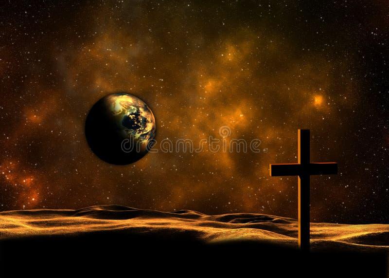Pianeta Terra e Christian Cross illustrazione di stock