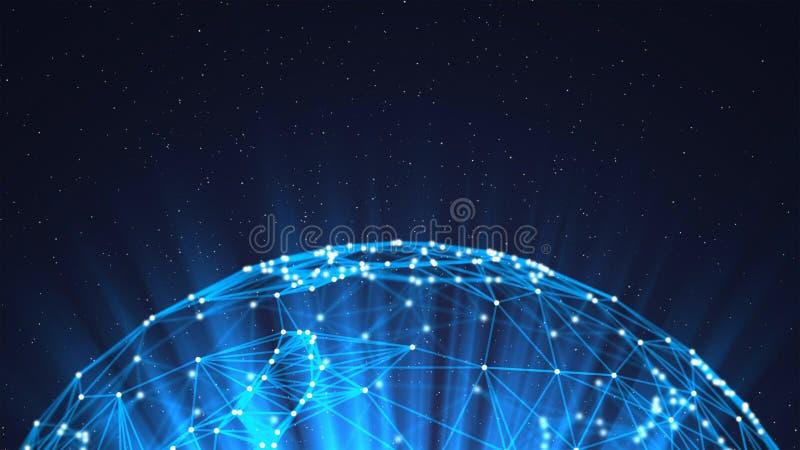 Pianeta Terra e luce Palla blu di forma della sfera con le linee del triangolo della connessione di rete e di dati digitali per i royalty illustrazione gratis