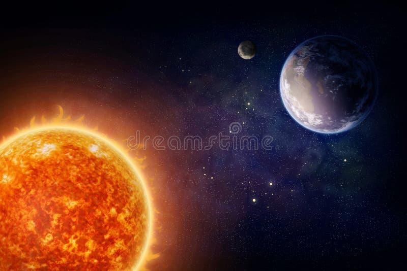 Pianeta Terra e sole illustrazione di stock