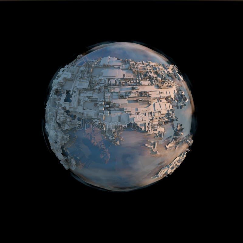 Pianeta Terra in futuro contro il cielo nero immagine stock libera da diritti