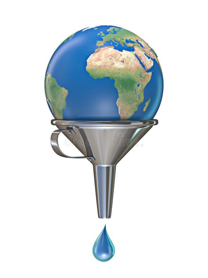 Pianeta Terra in imbuto con una goccia di acqua 3D illustrazione vettoriale