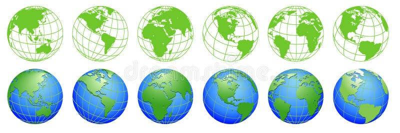 Pianeta Terra, mappe del globo del mondo, insieme delle icone di ecologia illustrazione di stock