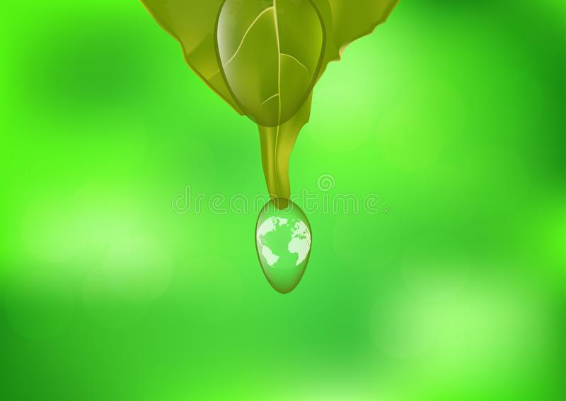 Pianeta Terra nella goccia di acqua, concetto ambientale illustrazione di stock