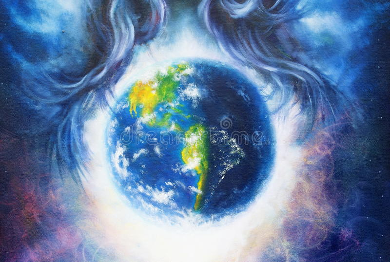 Pianeta Terra nello spazio cosmico circondato dai capelli blu della donna, fondo cosmico dello spazio Pittura originale sulla tel illustrazione di stock