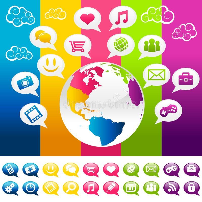 Pianeta Terra sociale variopinto di media con le icone illustrazione vettoriale