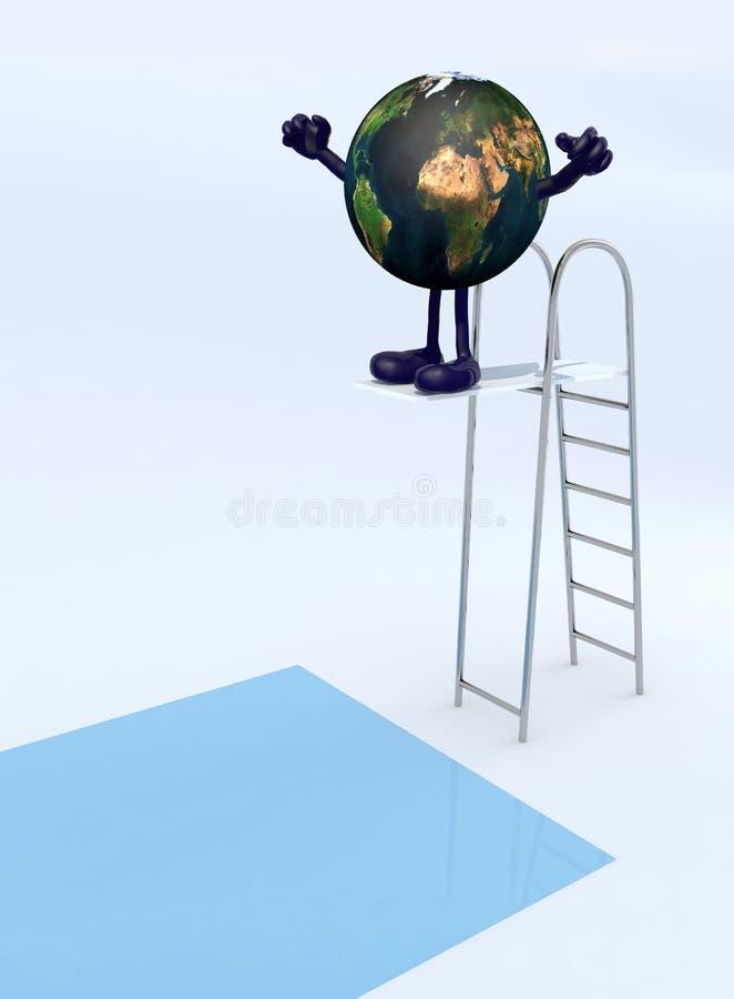 Pianeta Terra sulla immersione del trampolino nello stagno illustrazione vettoriale