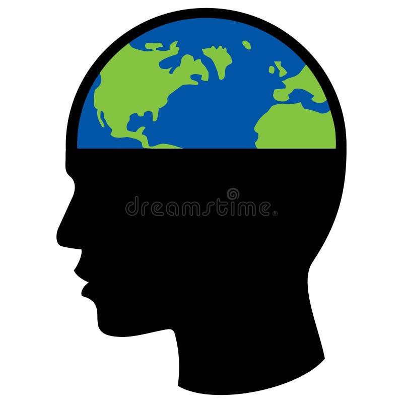 Pianeta Terra in testa umana, concetto politico illustrazione di stock