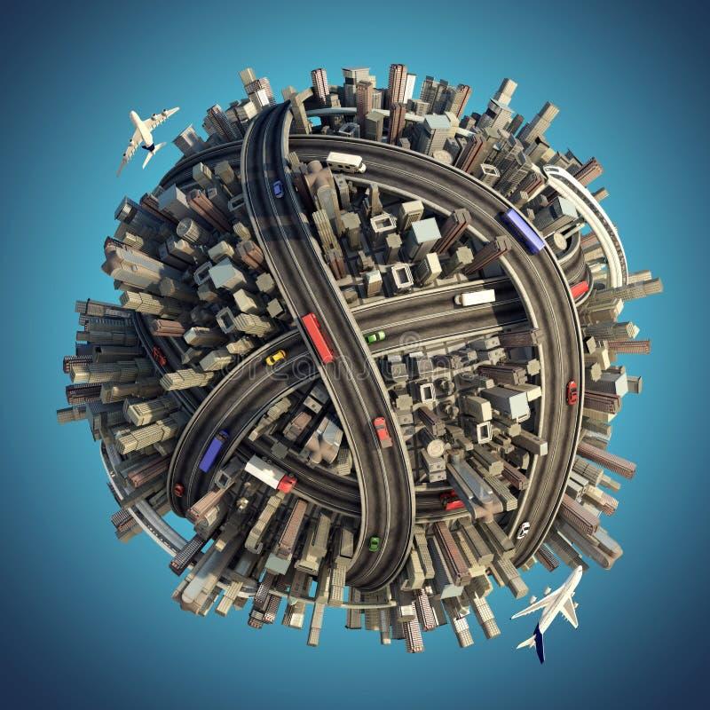 Pianeta urbano caotico miniatura illustrazione di stock