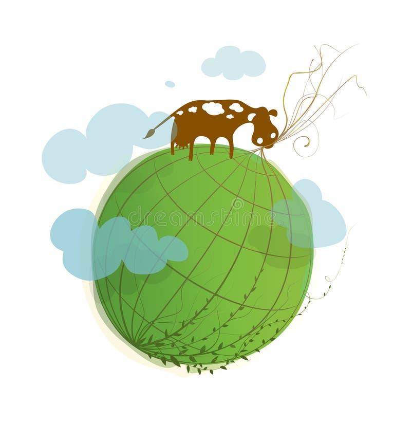 Pianeta verde del fumetto su bianco con una mucca illustrazione vettoriale