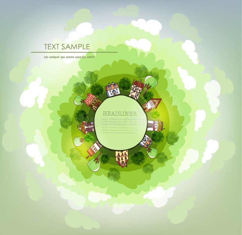 Pianeta verde, illustrazione ambientale di concetto, poco villaggio royalty illustrazione gratis