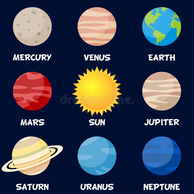 Pianeti del sistema solare con il Sun royalty illustrazione gratis