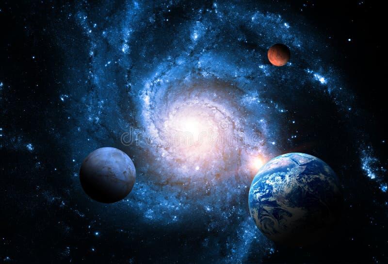 Pianeti del sistema solare contro lo sfondo di una galassia a spirale nello spazio fotografie stock libere da diritti
