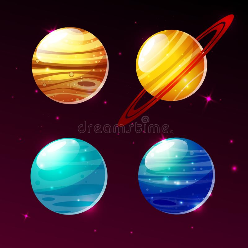 Pianeti del sistema solare nell'illustrazione del fumetto di vettore della galassia dello spazio royalty illustrazione gratis