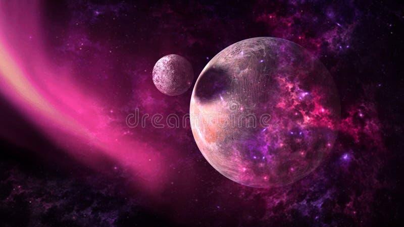 Pianeti e galassia, carta da parati della fantascienza Bellezza di spazio profondo fotografie stock libere da diritti