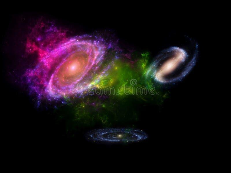 Pianeti e galassia, carta da parati della fantascienza Bellezza di spazio profondo Miliardi di galassia nei precedenti cosmici di fotografia stock