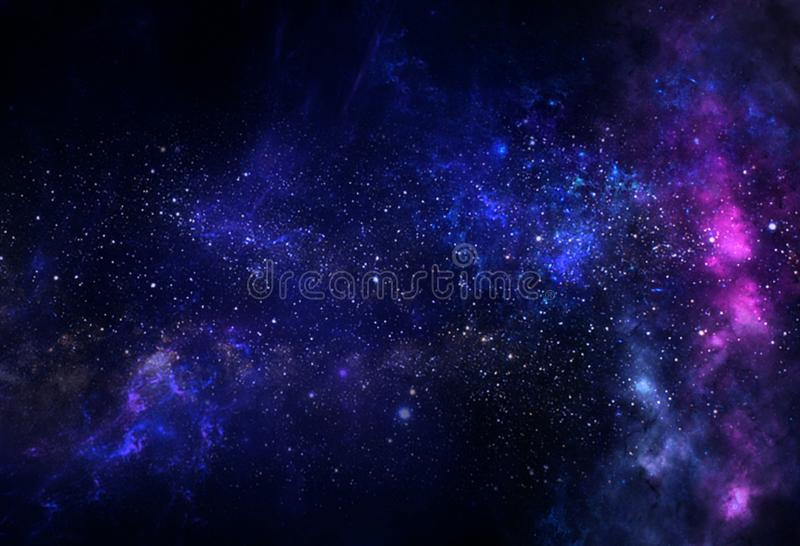 Pianeti e galassia, carta da parati di fantascienza L'astronomia è lo studio scientifico delle stelle dell'universo, dei pianeti, illustrazione di stock
